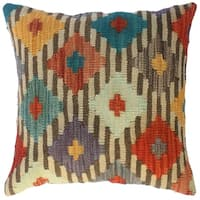 """Kilim Arlette Ivory/Brown Wool Throw Pillow Cover(18""""x18"""")"""
