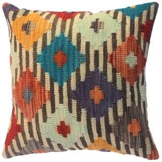 "Kilim Southwestern Aline Ivory/Brown Wool Throw Pillow Cover(18""x18"")"