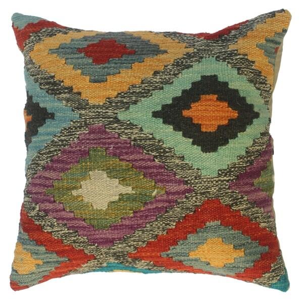 Shop Kilim Southwestern Jamika Gray Blue Wool Throw Pillow
