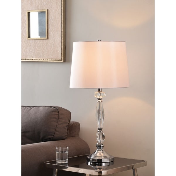 "Design Craft Caspian 28"" Table Lamp - Chrome with Crystal Accents"