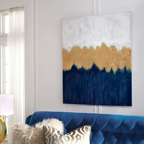 Melange Blue with Gold Leaf Abstract Canvas Wall Art
