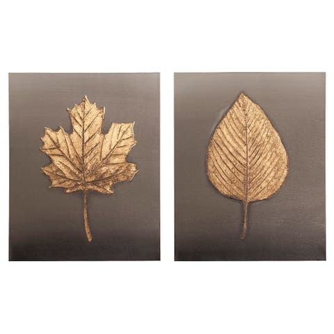 Feuille Leaf in Relief in Gold on Charcoal Canvas Wall Art Set