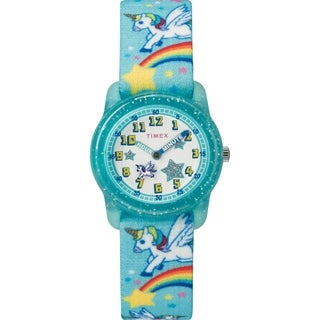 Timex Girls TW7C25600 Time Machines Teal/Rainbows & Unicorns Elastic Fabric Strap Watch - Blue