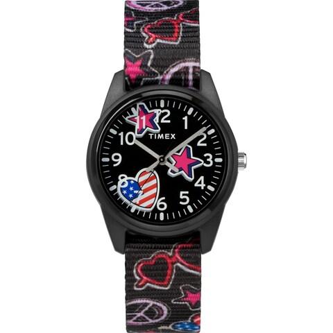 Timex Girls TW7C23700 Time Machines Black/Stars & Flags Nylon Strap Watch - Black