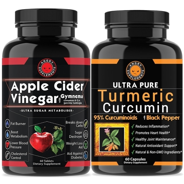 Angry Supplements Apple Cider Vinegar Tablets Turmeric Pills Combo Pack 120 Count
