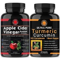 Angry Supplements Apple Cider Vinegar Tablets & Turmeric Pills Combo Pack (120 Count)