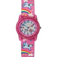 Timex Girls TW7C25500 Time Machines Pink/Rainbows & Unicorns Elastic Fabric Strap Watch - Pink
