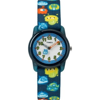 Timex Boys TW7C25800 Time Machines Black/Monsters Elastic Fabric Strap Watch - Black