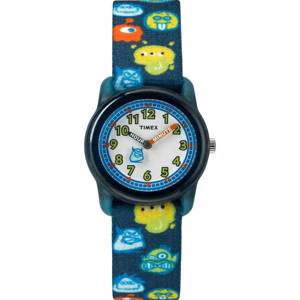 Timex Boys TW7C25800 Time Machines Black/Monsters Elastic Fabric Strap Watch - Black