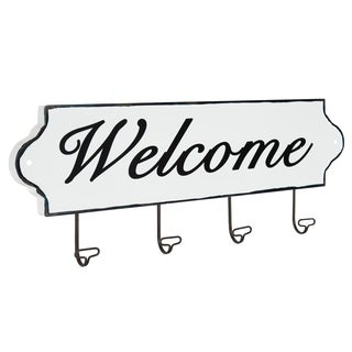 Ephram Metal Welcome Sign with Hooks, 31x8, White