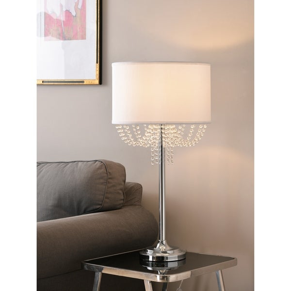 "GiGi 30"" Table Lamp - Chrome with Crystal Accents"
