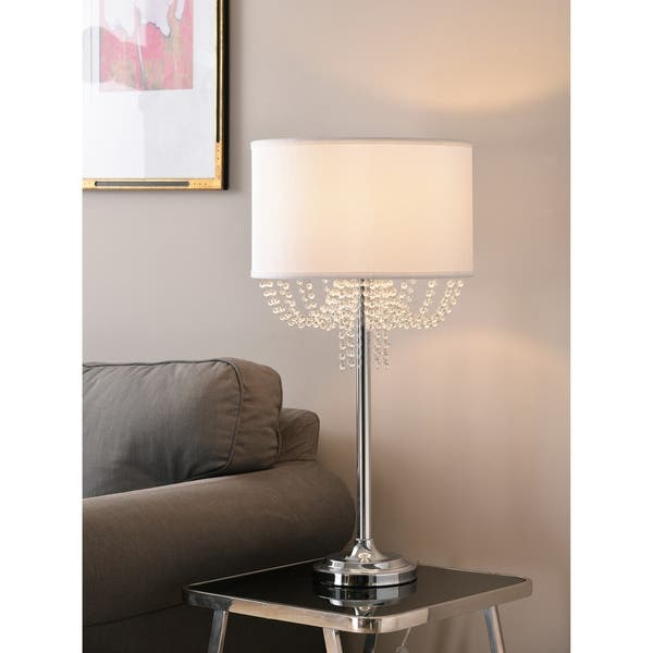 Gigi 30 Table Lamp Chrome With Crystal Accents