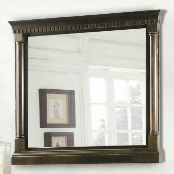 36 in. x 33 in. Framed Wall Mirror in Antique Coffee