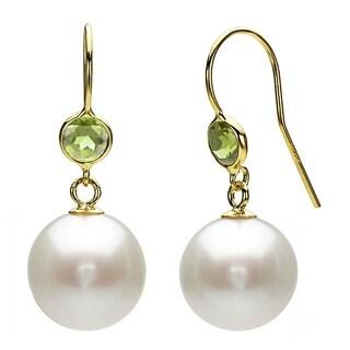 DaVonna 14k Yellow Gold Green Peridot and White Freshwater Pearl Dangle Earrings