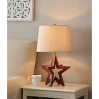"Design Craft Houston 21"" Accent Lamp - Weathered Red and White"
