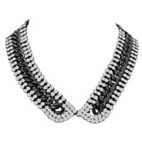 Passiana Crystal Link Collar Necklace, 18 Inches - Silver