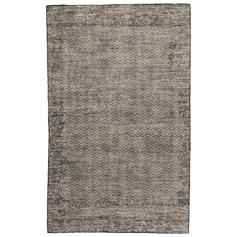 Annica Hand-Knotted Chevron Dark Gray/ Ivory Area Rug - 2'x3'