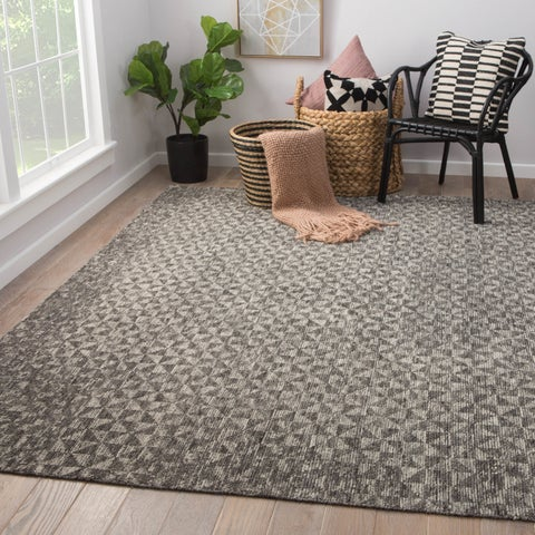 Norden Hand-Knotted Geometric Dark Gray/ Ivory Area Rug - 2'x3'
