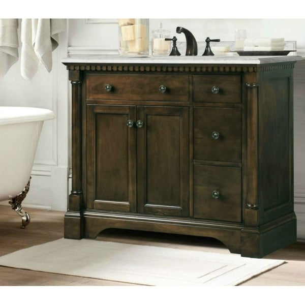 Legion Furniture 37 Bathroom Vanity In Antique Coffee With Carrara Marble Top Free Shipping Today 20598110