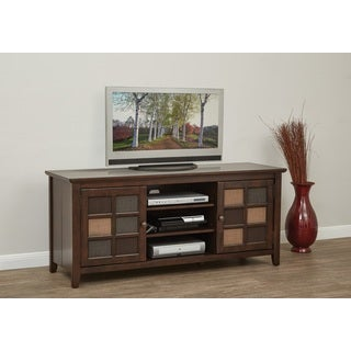 Bramley Folding TV Storage Unit in Cabernet Finish and Assorted Fabric Front
