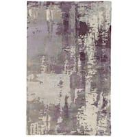 Prose Handmade Abstract Gray/ Purple Area Rug (2' X 3')