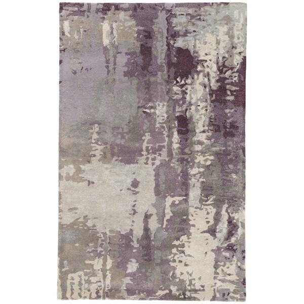 Prose Handmade Abstract Gray/ Purple Area Rug - 2' x 3'
