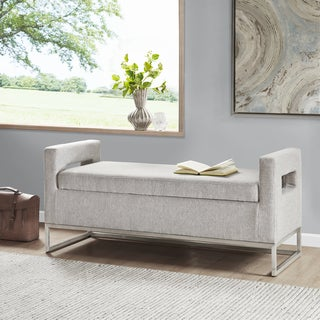 Madison Park Maye Grey Storage Bench