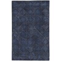 Rilke Handmade Geometric Dark Blue Area Rug (8' X 11')