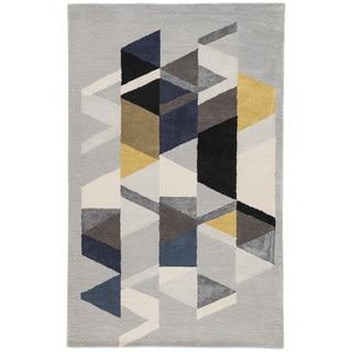 "Didion Handmade Geometric Light Gray/ Multicolor Area Rug (8' X 11') - 7'10"" x 10'10"""