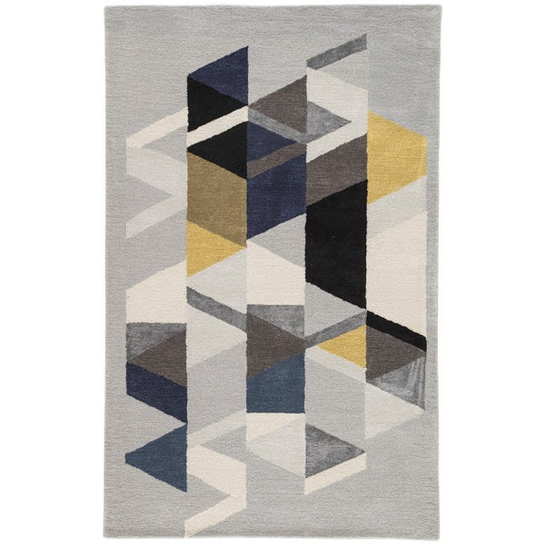 Didion Handmade Geometric Light Gray/ Multicolor Area Rug (5' X 8') - 5' x 8'