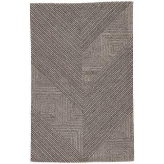 Auster Handmade Geometric Gray Area Rug (5' X 8') - 5' x 8'
