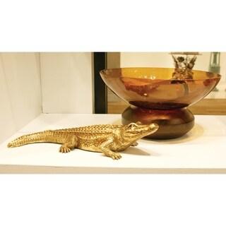 Amber Glass Bowl on Wood Base