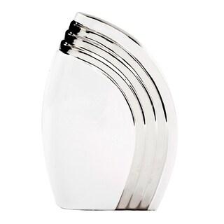 White Art Deco Vase with Metallic Silver Accent, Small