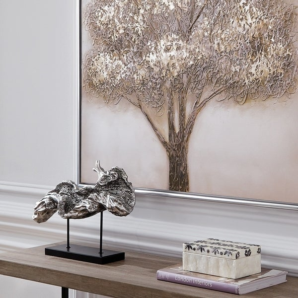 Silver Plated Log Replica on Metal Stand