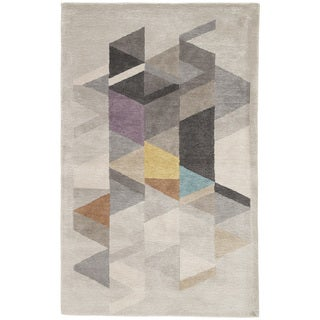 Didion Handmade Geometric Light Gray/ Multicolor Area Rug - 2' x 3'