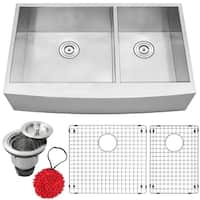 """36"""" Ticor S4411 Bryce Series Curved Apron Front 16-Gauge Stainless Steel Double Basin Zero Radius Kitchen Sink with Accessories"""