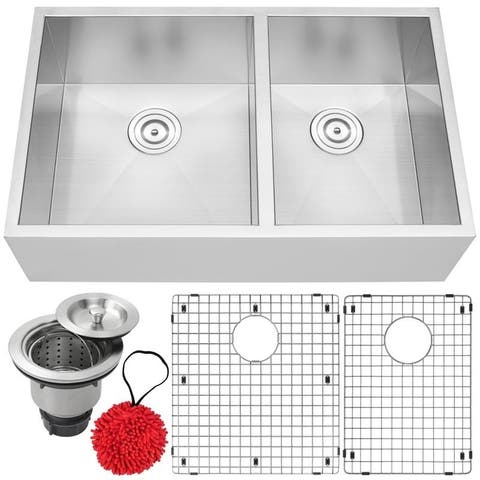 "33"" Ticor S4404 Bryce Series Flat Apron Front 16-Gauge Stainless Steel Double Basin Zero Radius Kitchen Sink with Accessories"