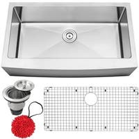 "36"" Ticor S4415 Bryce Series Curved Apron Front 16-Gauge Stainless Steel Single Basin Kitchen Sink with Accessories"