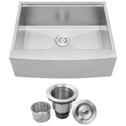 "27"" Ticor S5301 Bryce Series Graduated Basin Ledge 16-Gauge Stainless Steel Single Basin Zero Radius Curved Apron Sink"