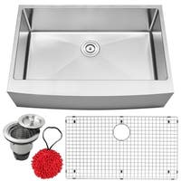 "33"" Ticor S4413 Bryce Series Curved Apron Front 16-Gauge Stainless Steel Single Basin Kitchen Sink with Accessories"