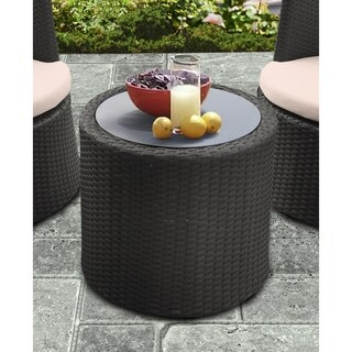 Armen Living Kailani Outdoor WickerPatio Table with Black Glass Top - N/A