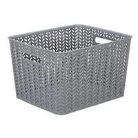 Large Herringbone Storage Bin in Grey