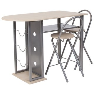 Grammercy 3 Piece Bistro Set with Wine Rack and Folding Chairs