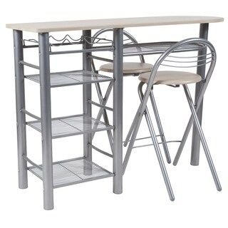 Carnegie 3 Piece Space-Saver Bistro Set with Wine Rack, Shelving and Folding Chairs
