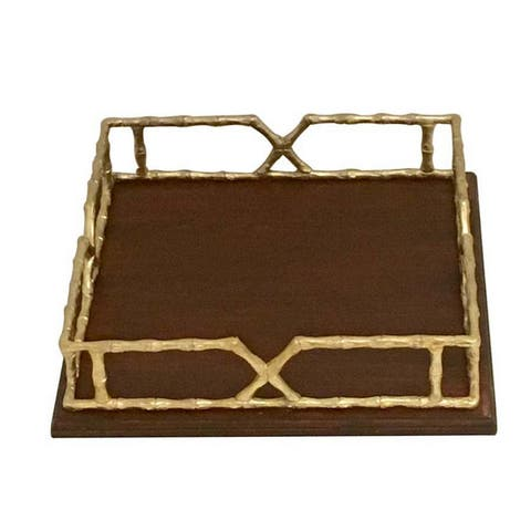 Urban Designs 15.5-Inch Solid Wood Tray With Gold Metal Handles