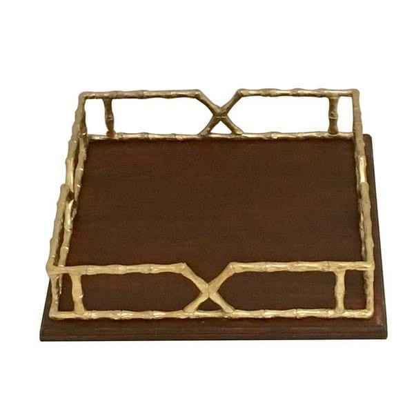 Urban Designs 15.5-Inch Solid Wood Tray With Gold Metal Handles - 15.5 Inch Serving Tray
