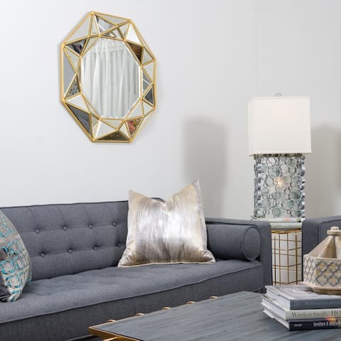 Geo Octagonal Aged Gold Accent Wall Mirror - Aged Gold