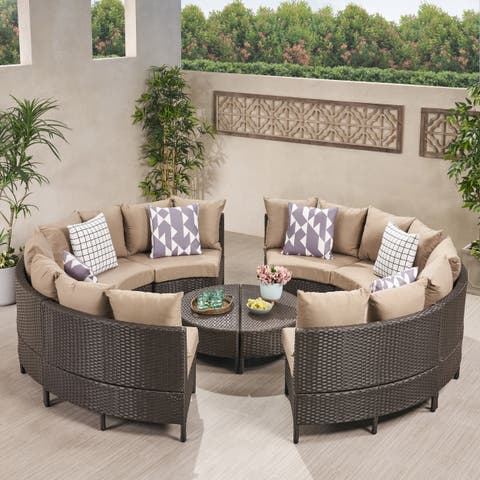 Newton Outdoor 8 Seater Round Wicker Sectional Sofa Set with Coffee Tables by Christopher Knight Home