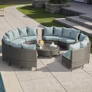Newton Outdoor 8 Seater Round Wicker Sectional Sofa Set with Coffee Tables by Christopher Knight Home (Grey)