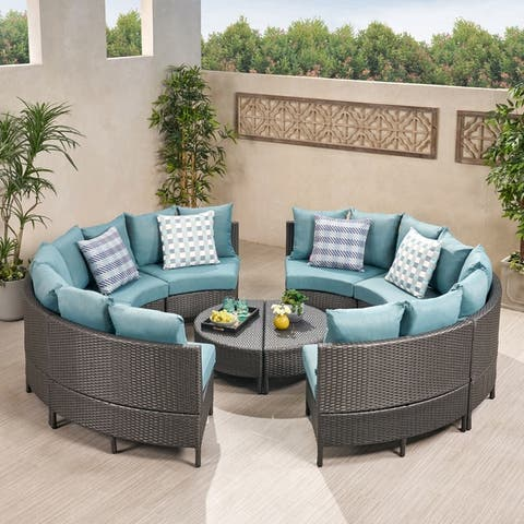 Newton Outdoor Round Wicker Sectional Sofa Set by Christopher Knight Home